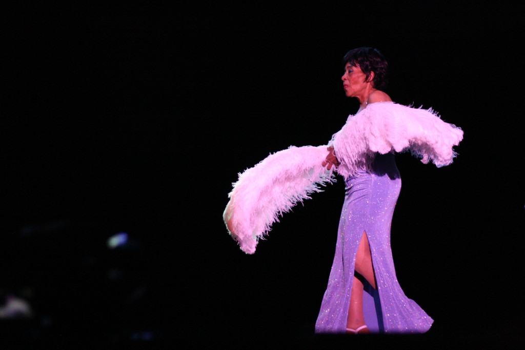 Jean Idelle performs a fan dance at the Burlesque hall of Fame Legends Showcase, 2012 Photo by Elsa Sjunneson-Henry